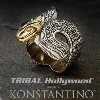 Konstantino 18K GOLD SERPENT HEAD Sterling Silver Mens Ring
