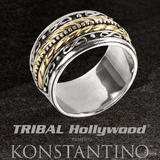 Konstantino INFINITY RING Sterling Silver and 18k Gold Band Mens Ring