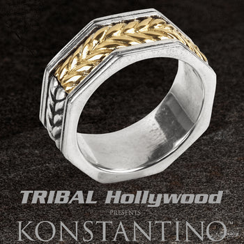Konstantino GOLD WHEAT RING Sterling Silver and 18k Gold Thin Band Ring