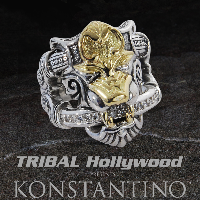 Konstantino ARMORED LION Mens Ring with 18k Gold and Diamonds