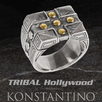 Konstantino HEPHAESTUS GOLD ARMOR RING Silver and 18k Gold Mens Ring
