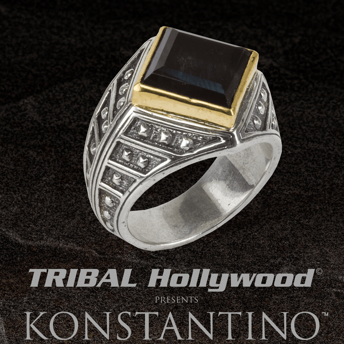 Konstantino GOLD HEPHAESTUS HAWKS EYE Stone Ring for Men in Silver