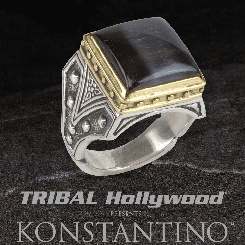 Konstantino GOLD ARMOR HAWKS EYE Stone Sterling Silver Ring for Men