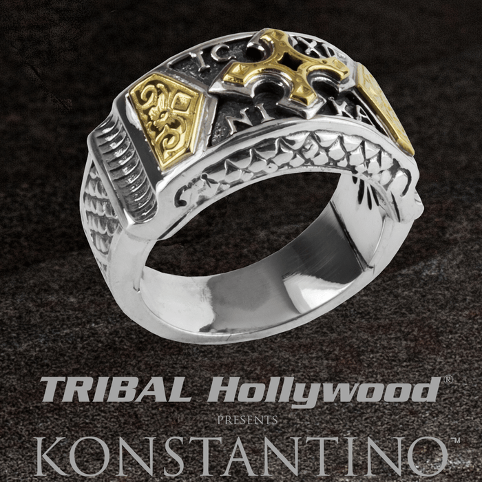 Konstantino HEONOS GOLD CROSS Sterling Silver and 18K Gold Mens Ring