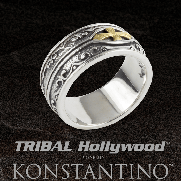 Konstantino HEONOS ARMOR CROSS Mens Ring in Silver and 18k Gold