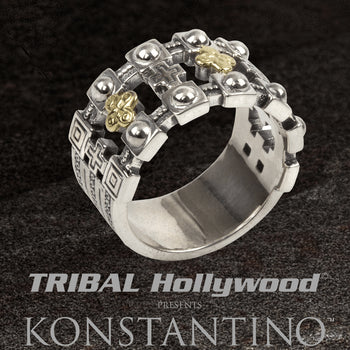 Konstantino FORTRESS RING for Men in Silver and Gilded 18k Gold