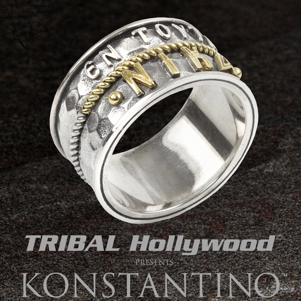 Konstantino GREEK CONQUEROR RING for Men with Ancient Glyphs