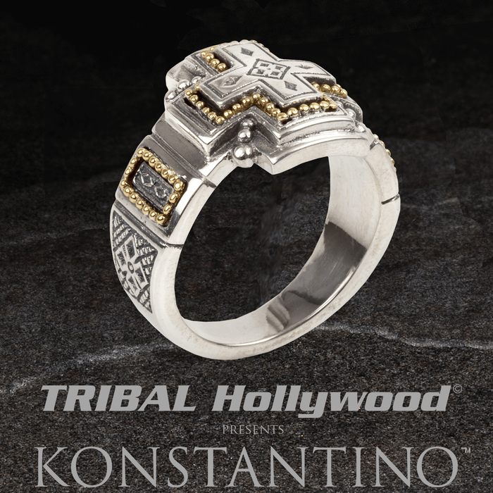 Konstantino GOLD RIVET CROSS RING Silver and 18k Gold Mens Ring