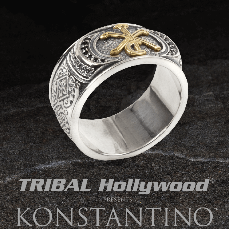 Konstantino CONSTANTINE SIGIL RING Greek Glyph Christ Ring for Men