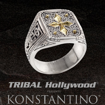 Konstantino GOLD CROSS SHIELD Mens Ring in Silver and 18k Gold