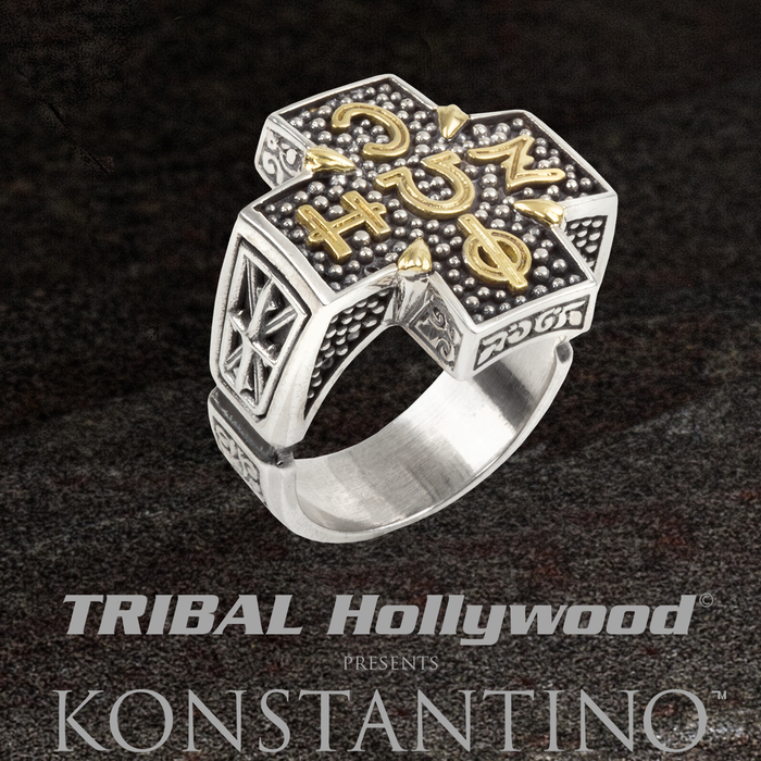 Konstantino LIFE AND LIGHT RING for Men with Ancient Greek Glyphs