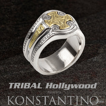Konstantino GOLD TEMPLAR CROSS RING for Men in Silver and 18k Gold
