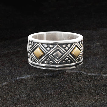 Konstantino GOLD GEOMETRIC RING for Men in Sterling Silver