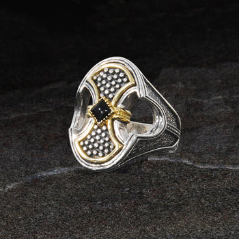 Konstantino GLADIATOR SHIELD RING for Men in 18k Gold and Silver