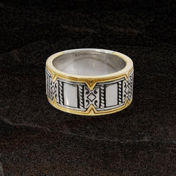 Konstantino 18K GOLD RIM Perseus Ring for Men in Sterling Silver