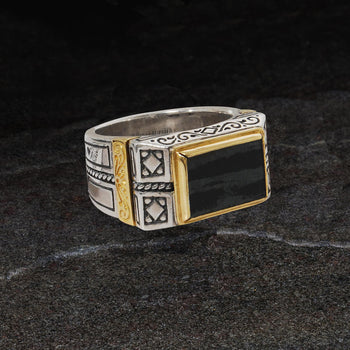 Konstantino FERRITE RING Silver and 18k Gold Mens Ring