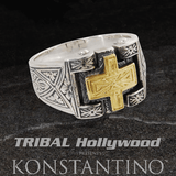 Konstantino ANCIENT GOLD CROSS RING Sterling Silver Mens Ring