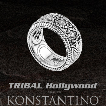 Konstantino ZEUS SCROLLWORK RING Carved Silver Band Ring for Men