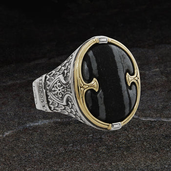 Konstantino FERRITE SHIELD RING Silver and 18k Gold Mens Ring