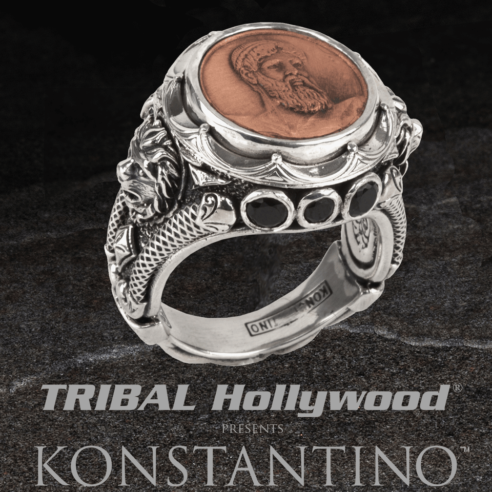 Konstantino POSEIDON COIN Copper and Sterling Silver Royal Lion Mens Ring