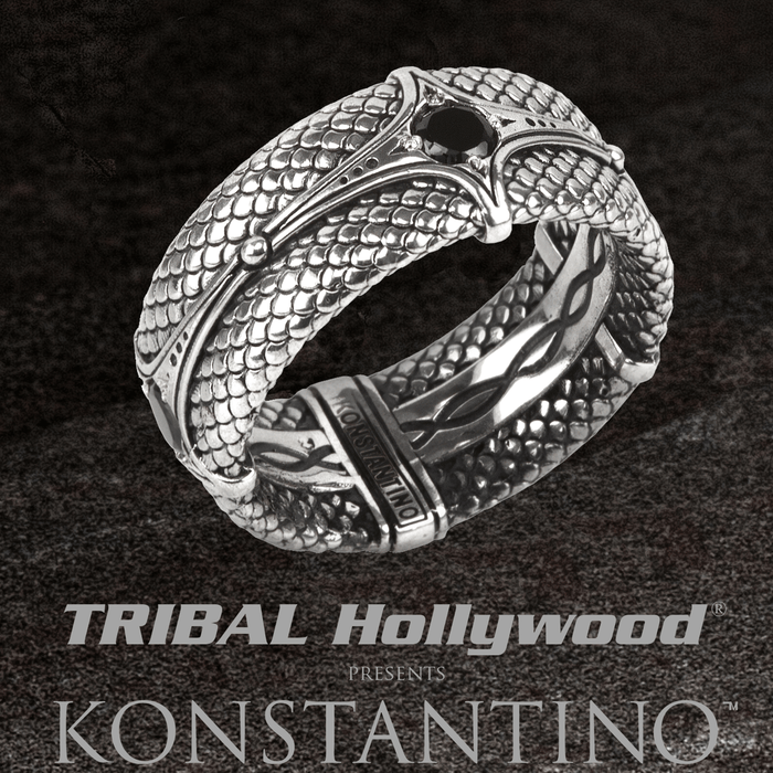 Konstantino DRAGON ARMOR Sterling Silver and Black Spinel Ring for Men