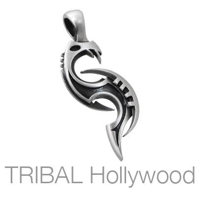 WYVRE Tribal Dragon Tattoo Pendant in Silver
