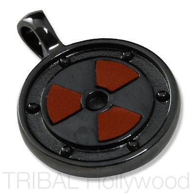 NUCLEAR Symbol Pendant in Gunmetal with Brown Leather