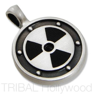 NUCLEAR Symbol Pendant in Silver with Black Leather