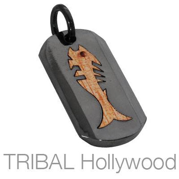VITA PISCES Fish Dog Tag Pendant in Rosewood and Black Gunmetal