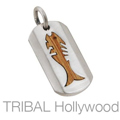 VITA PISCES Fish Dog Tag Pendant in Rosewood and Silver