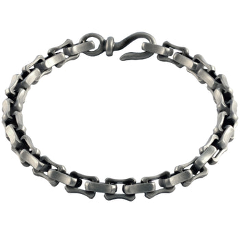 LI Curved Link Simple Mens Bracelet with Hook Clasp by BICO Australia