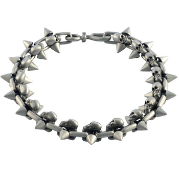 SPIKED SKULL Silver Mens Bracelet with Skull Designs by BICO Australia