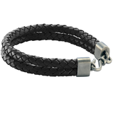 DOUBLE BOLO BLACK Braided Leather Mens Bracelet by BICO Australia
