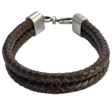 DOUBLE BOLO DARK BROWN Braided Leather Mens Bracelet by BICO Australia