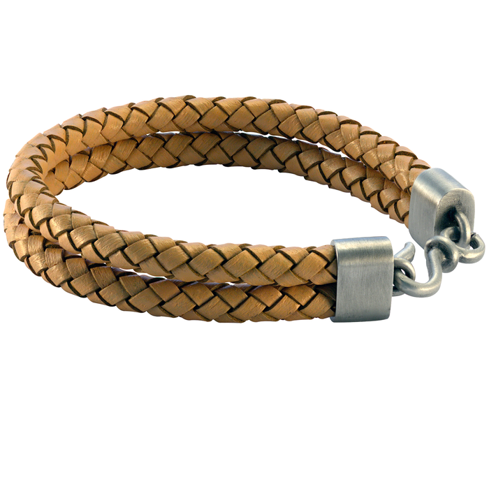 DOUBLE BOLO LIGHT BROWN Leather Mens Bracelet by BICO Australia