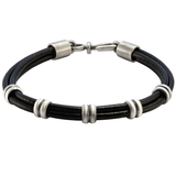 SMOKE DANCE Customizable Black Leather Mens Bracelet by BICO Australia