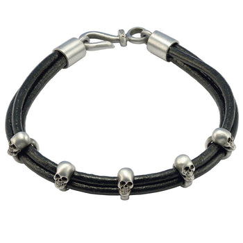TRUTH Multi-Strand Leather Bracelet with Skulls by BICO Australia