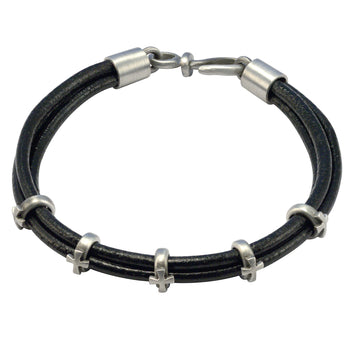 FAITH Multi-Strand Leather Bracelet with Crosses by BICO Australia