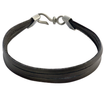 BROWN TRIPLE STRAND LEATHER BRACELET for Men by BICO Australia
