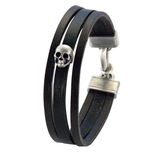 VIGILANT TRIPLE STRAND Black Leather Skull Bracelet by BICO Australia