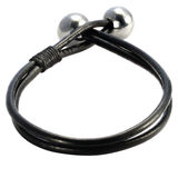 OCEANIC ORBS Double Black Leather Mens Bracelet by BICO Australia