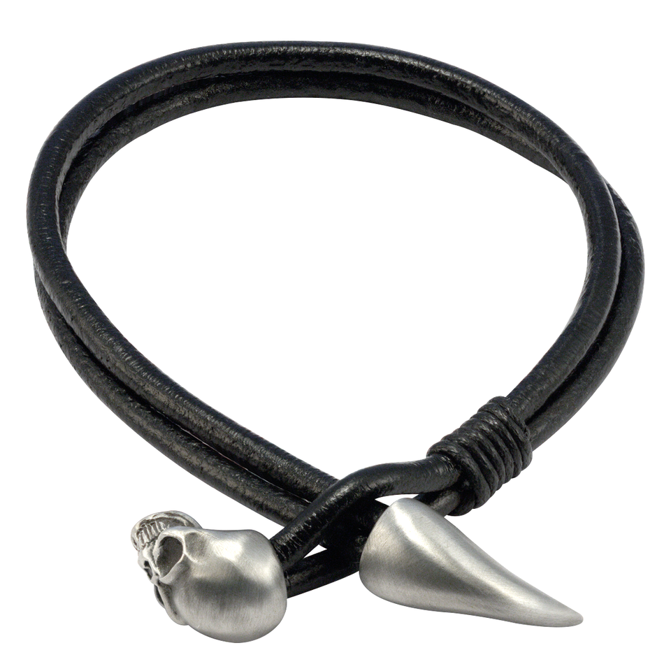 SPEARHEAD Black Leather Mens Bracelet with Skull by BICO Australia