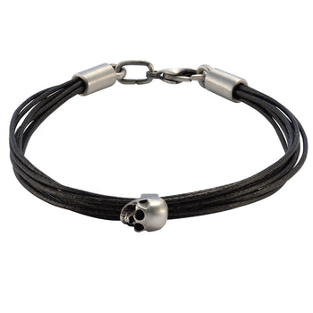 VIGILANT MULTI-STRAND Black Leather Skull Bracelet by BICO Australia