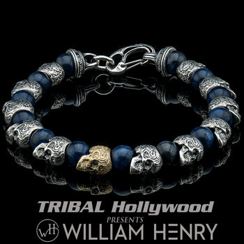 Gold and silver skull bracelet at Trial Hollywood, made by William Henry.