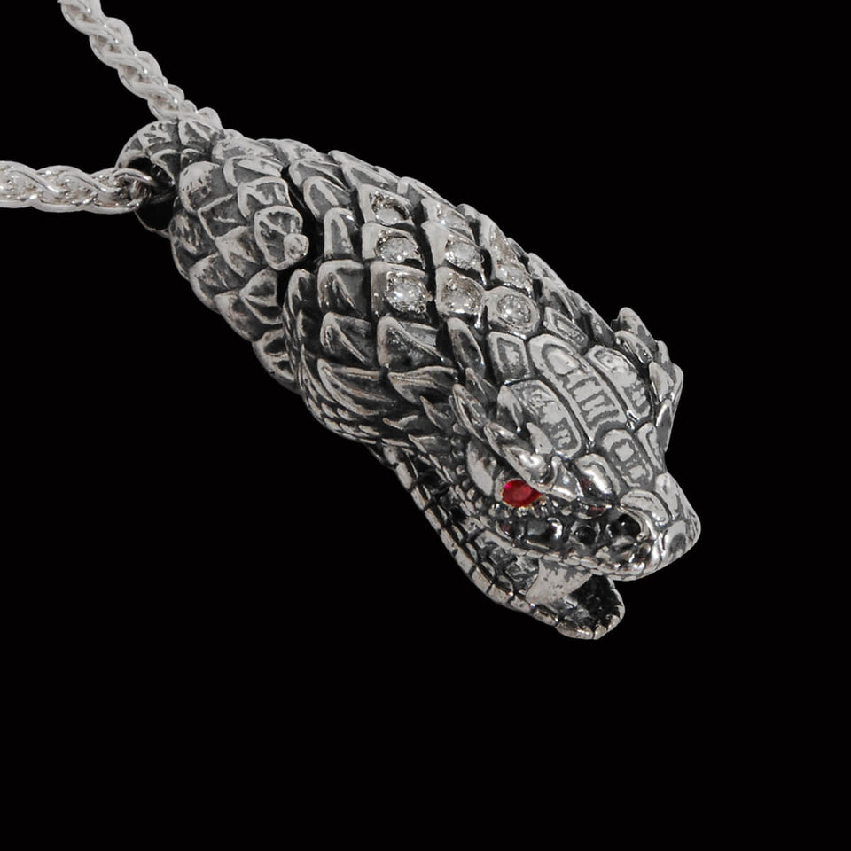 William Henry DIAMOND STUDDED SNAKEHEAD Sterling Silver Mens Necklace