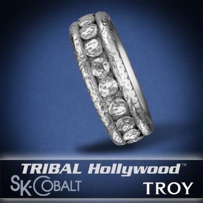 RIVETED TROY Ring SK Cobalt Men's Wedding Band by Scott Kay