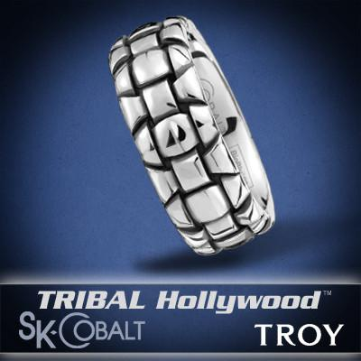 ARMORED TROY Ring SK Cobalt Mens Wedding Band By Scott Kay
