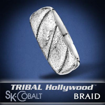 HAMMERED BRAID Ring SK Cobalt Men's Wedding Band by Scott Kay
