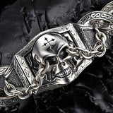 UNKAGED CHAINED SKULL Scott Kay Mens Sterling Silver Bracelet | Tribal Hollywood Closeup