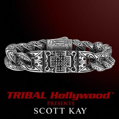 UnKaged BLACK SAPPHIRE CROSS Bracelet by Scott Kay Mens Sterling Silver | Tribal Hollywood